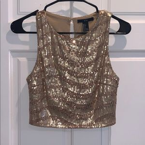 Cropped sequin gold top